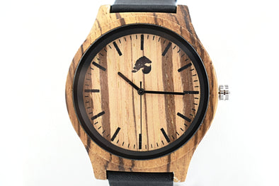 Handcrafted Men's Zebra Wood Watch - Safari