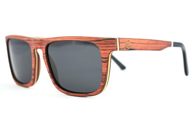 Red Rosewood Sunglasses With Acetate Tip - Weston