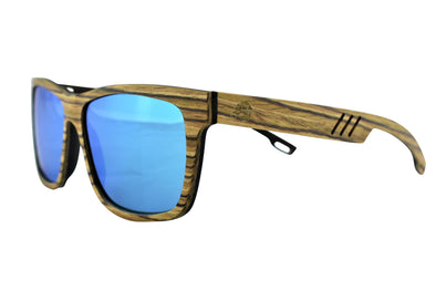 Zebra Wood Sunglasses With Ice Blue Lens - Terra