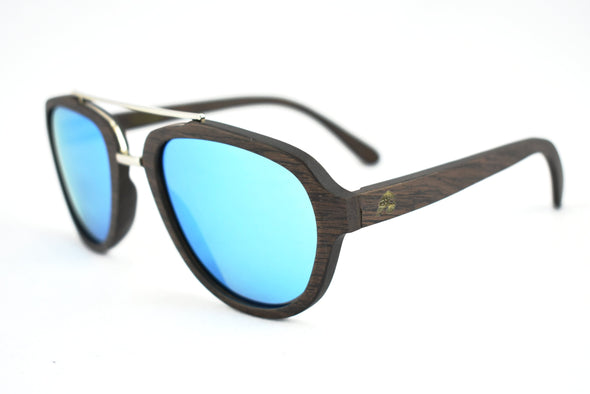 Black Oak Aviator Wood Sunglasses With Mirrored Lens