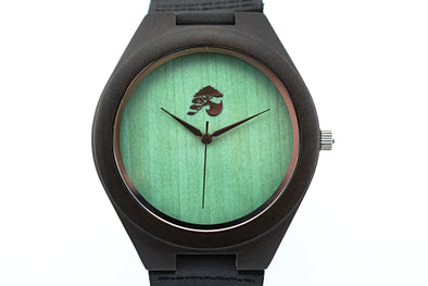 Handcrafted Men's Sandalwood Watch - Green Forrest