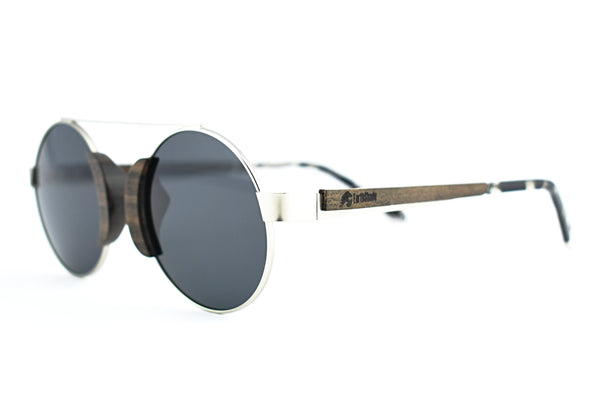 Metal And Wood Sunglasses For Men And Women Round Shape