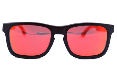 Black Bamboo Sunglasses With Red Lens - Georgia Edition