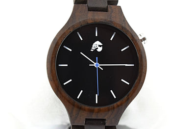 Handcrafted Unisex Walnut Wood Watch - Midnight