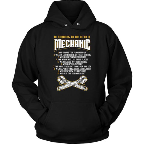 10 Reasons To Be With A Mechanic Funny Auto Gift Unisex Hoodie-NeatFind.net