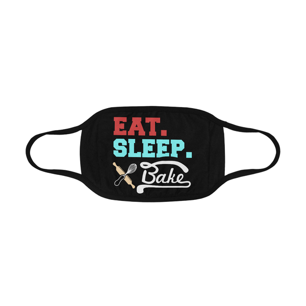Eat Sleep Bake Funny Washable Reusable Cloth Face Mask With Filter Pocket
