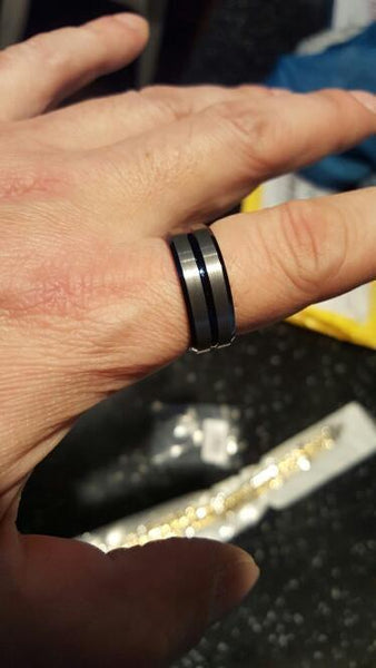 8mm Matte Finished Triple Thin Blue Line Tungsten Carbide Ring For Men-NeatFind.net