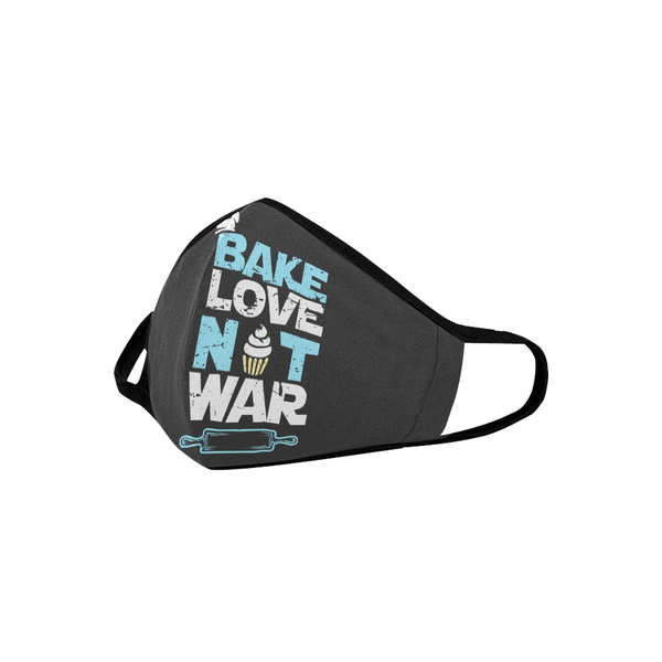 Bake Love Not War Funny Washable Reusable Cloth Face Mask With Filter Pocket