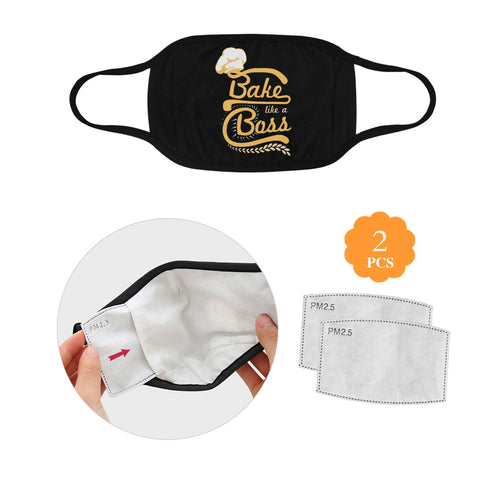 Bake Like A Boss Funny Washable Reusable Cloth Face Mask With Filter Pocket