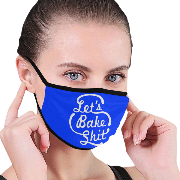 Let's Bake Shit Funny Washable Reusable Cloth Face Mask With Filter Pocket