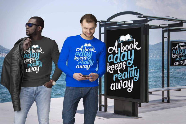A Book A Day Keeps Reality Away Bibliophile Avid Readers Gift Ideas Sweater-NeatFind.net