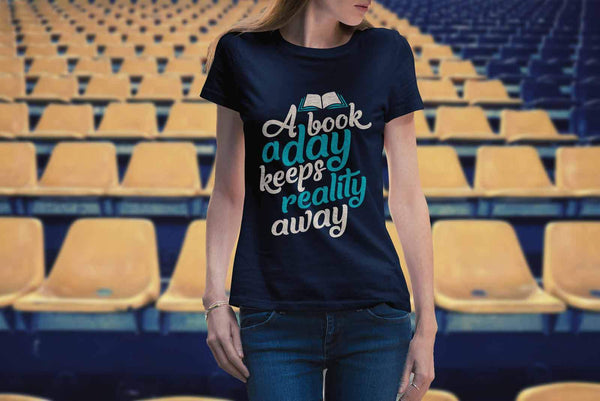A Book A Day Keeps Reality Away Bibliophile Avid Readers Gift Ideas TShirt-NeatFind.net
