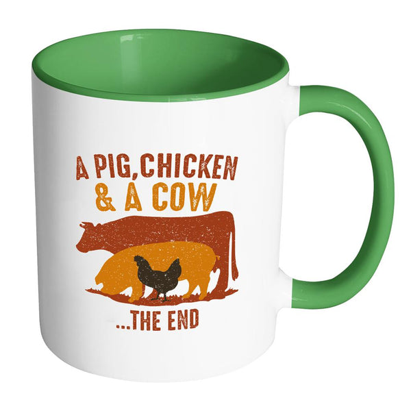 A Pig Chicken & A Cow The End BBQ Cool Funny Gifts 7Color 11oz Coffee Mug-NeatFind.net