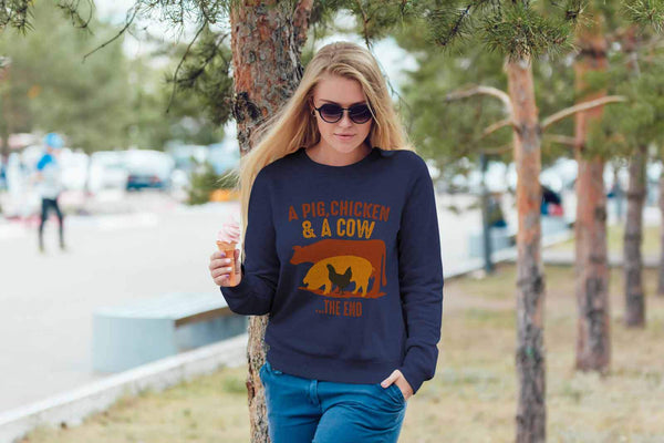 A Pig Chicken & A Cow The End BBQ Cool Funny Gifts Gag Crewneck Sweatshirt-NeatFind.net