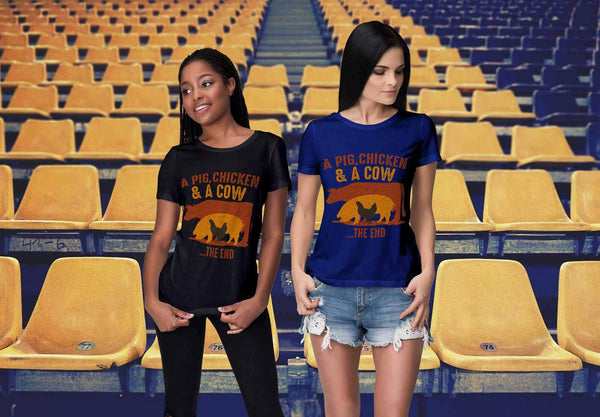 A Pig Chicken & A Cow The End BBQ Cool Funny Gifts Gag T-Shirt For Women-NeatFind.net