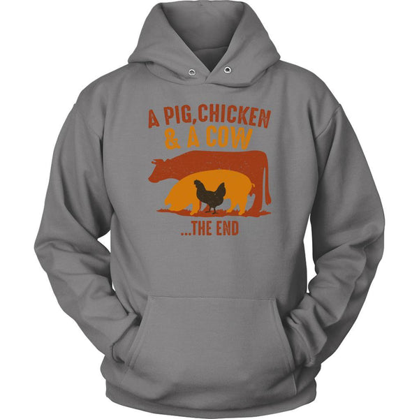 A Pig Chicken & A Cow The End BBQ Cool Funny Gifts Gag Unisex Hoodie-NeatFind.net