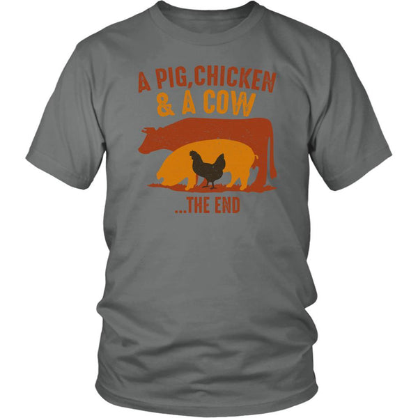 A Pig Chicken & A Cow The End BBQ Cool Funny Gifts Gag Unisex T-Shirt-NeatFind.net