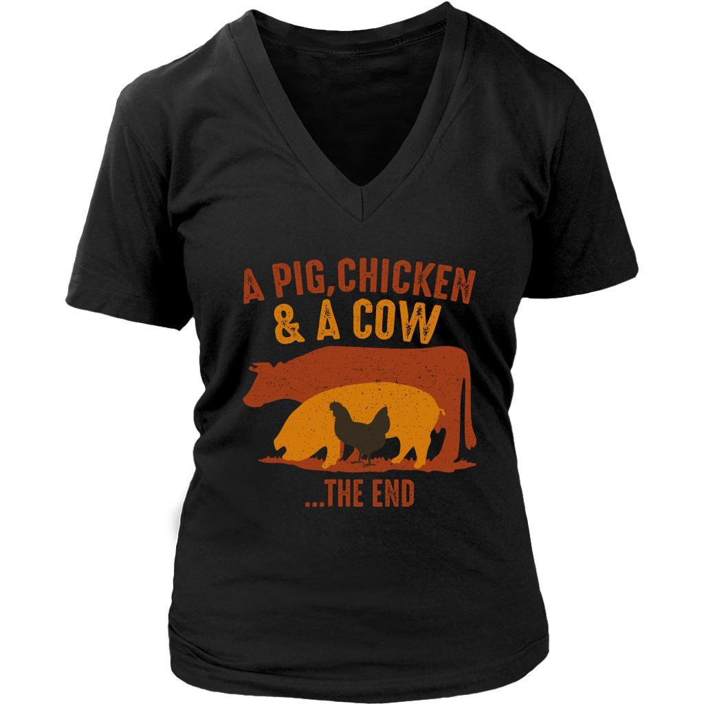 A Pig Chicken & A Cow The End BBQ Cool Funny Gifts Gag V-Neck T-Shirt For Women-NeatFind.net