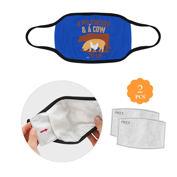 A Pig Chicken & A Cow The End Funny BBQ Washable Reusable Cloth Face Mask-L-Royal Blue-NeatFind.net
