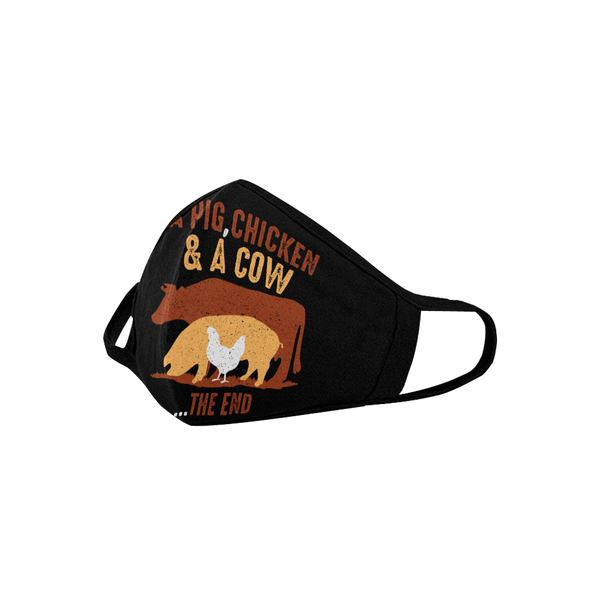 A Pig Chicken & A Cow The End Funny BBQ Washable Reusable Cloth Face Mask-NeatFind.net
