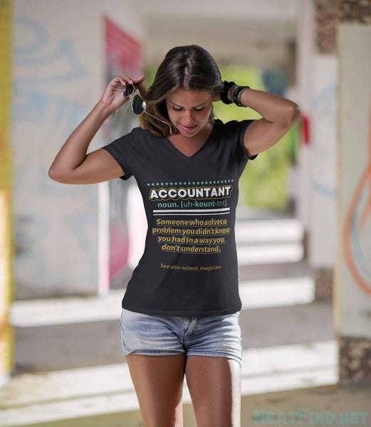 Accountant Noun Solves Problem In A Wizard Magician Way Women V-Neck-NeatFind.net