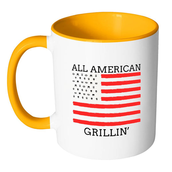 All American Grillin USA Patriotic BBQ Cool Funny Gifts 7Color 11oz Coffee Mug-NeatFind.net