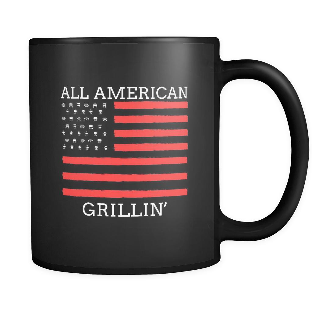 All American Grillin USA Patriotic BBQ Cool Funny Gifts Black 11oz Coffee Mug-NeatFind.net