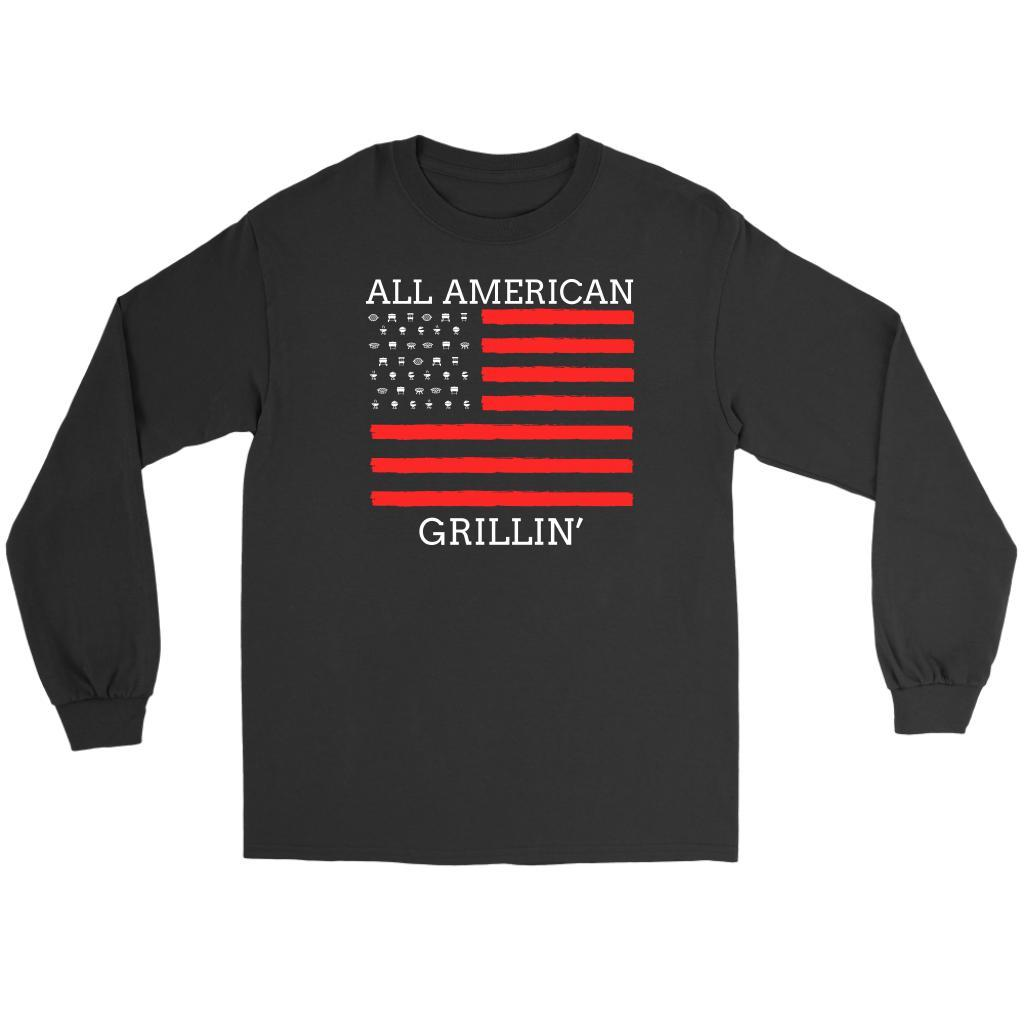 All American Grillin USA Patriotic BBQ Cool Funny Gifts Gag Long Sleeve T-Shirt-NeatFind.net
