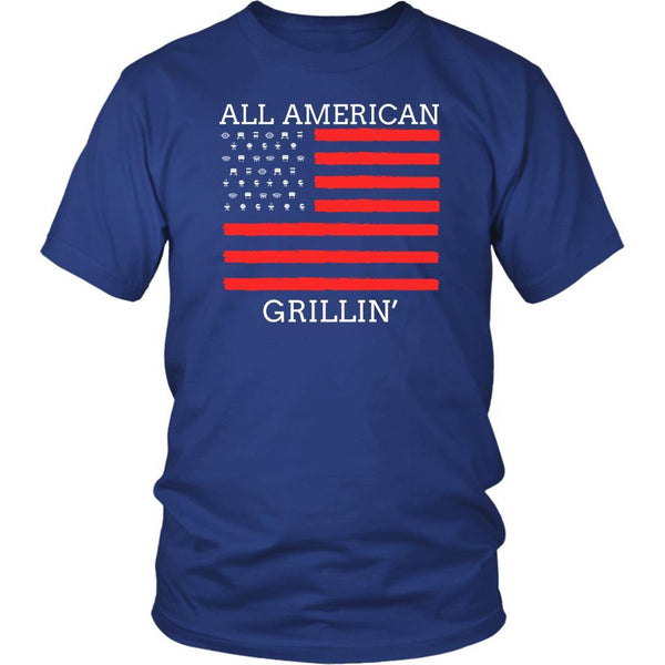 All American Grillin USA Patriotic BBQ Cool Funny Gifts Gag Unisex T-Shirt-NeatFind.net