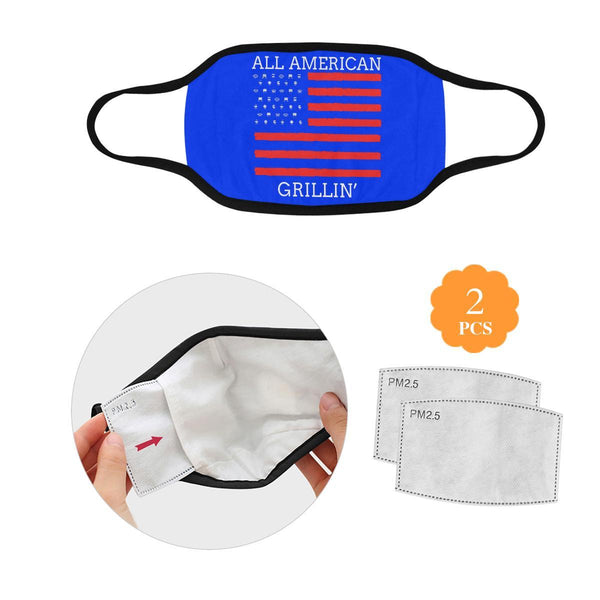 All American Grillin USA Patriotic BBQ Flag Washable Reusable Cloth Face Mask-L-Royal Blue-NeatFind.net
