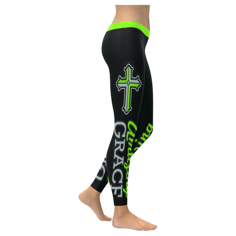 Amazing Grace Vibrant Green Soft Breathable Christian UPF40+ Womens Leggings-NeatFind.net