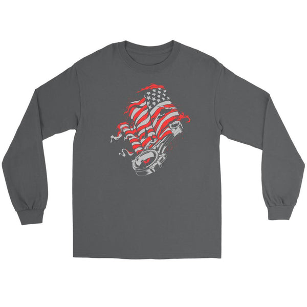 American Patriotic USA Flag Awesome Cool Auto Mechanic Gift Long Sleeve TShirt-NeatFind.net