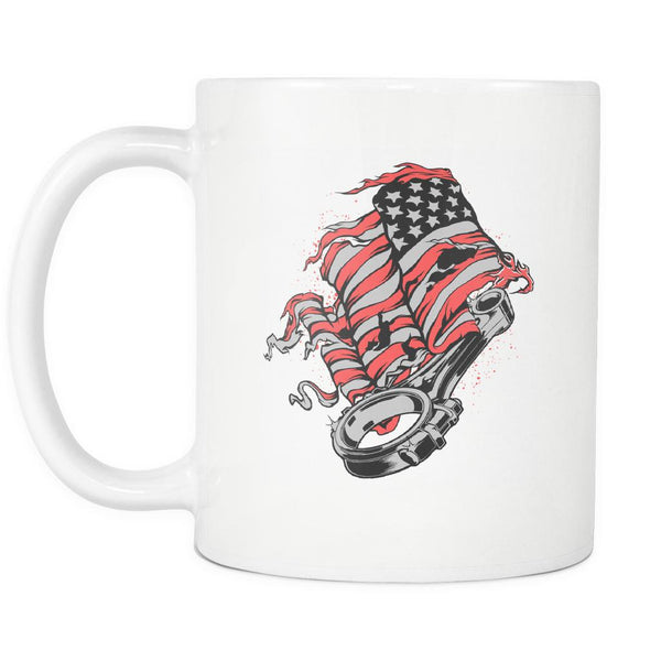 American Patriotic USA Flag Awesome Cool Auto Mechanic Gift White 11oz Mug-NeatFind.net