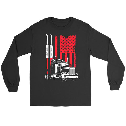 American Patriotic USA Flag Truck Practical Funny Truckers Gifts Long Sleeve Tee-NeatFind.net