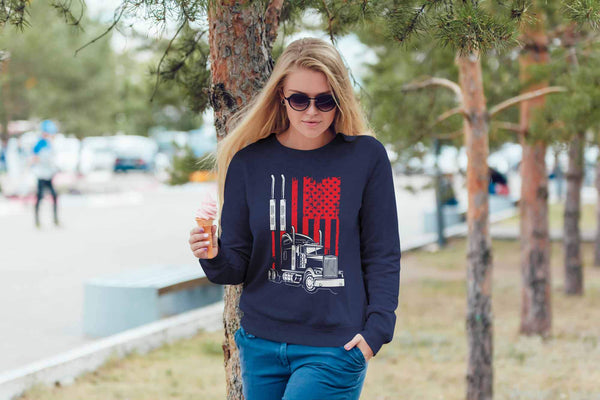 American Vintage Patriotic USA Flag Truck Practical Funny Truckers Gifts Sweater-NeatFind.net