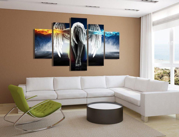 Angel With Wings Fire & Ice 5 Piece Canvas Wall Art-NeatFind.net