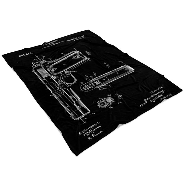 Antique Retro Rustic Vintage 1911 Handgun Pistol US Patents Drawings Fleece Blanket-NeatFind.net