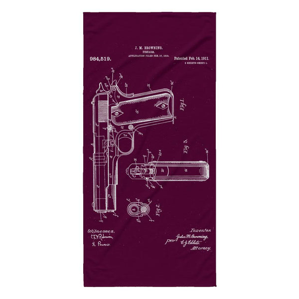Antique Retro Rustic Vintage 1911 Handgun US Patent Drawing Beach Towel-NeatFind.net