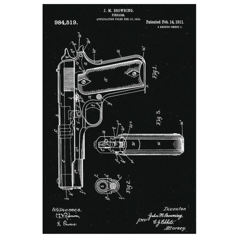 Antique Retro Rustic Vintage 1911 Handgun US Patents Drawings Canvas Wrap Wall Art Decor-NeatFind.net