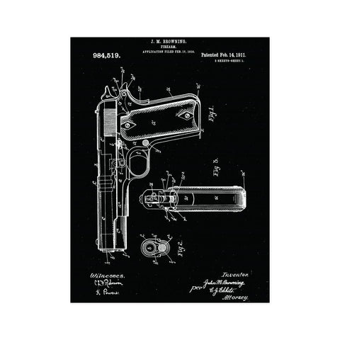 Antique Retro Rustic Vintage US Patents 1911 Handgun Pistol Poster-NeatFind.net