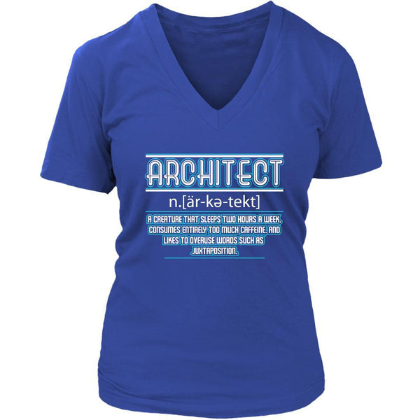 Architect Creature That Sleep Two Hour Too Much Caffeine Funny Gift VNeck TShirt-NeatFind.net