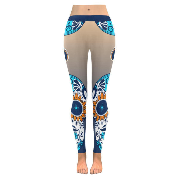 Artistic Sugar Skulls Spades Royale Soft UPF40+ Non See Through Womens Leggings-NeatFind.net