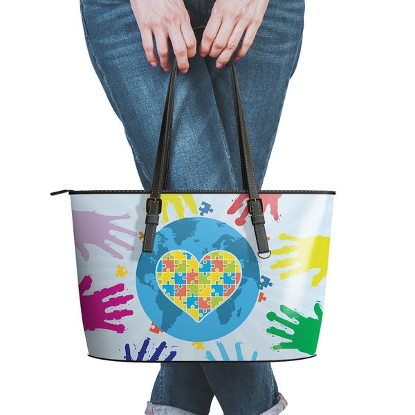 Autism Awareness #2 Water Resistant Leather Tote Bags (5 colors)-NeatFind.net