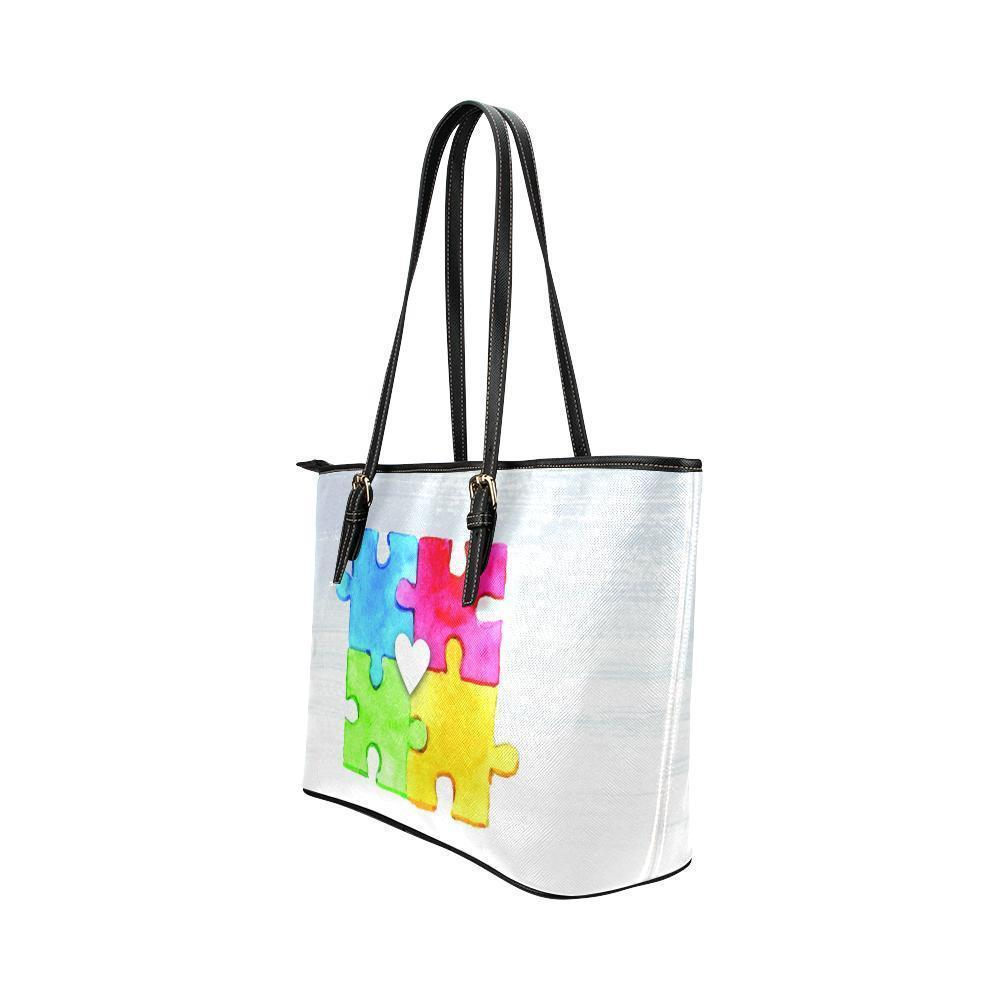 6ed68e2d4f16 Autism Awareness #4 Water Resistant Leather Tote Bags (5 colors ...