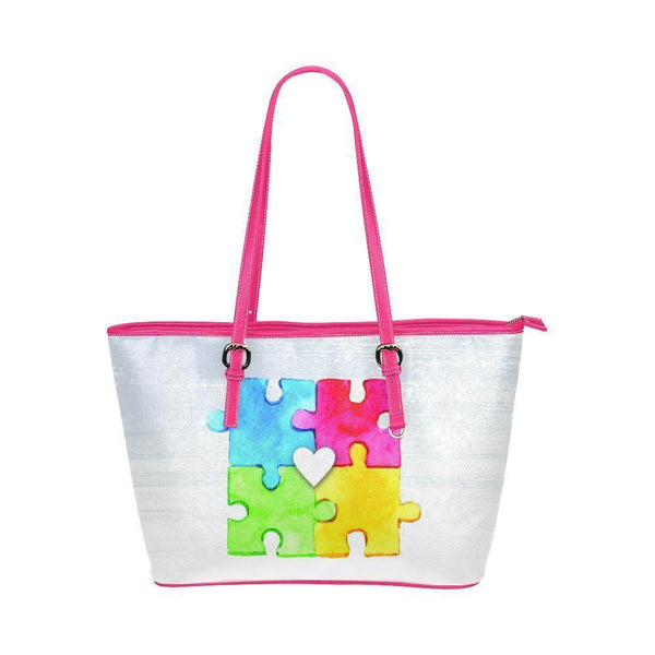 Autism Awareness #4 Water Resistant Leather Tote Bags (5 colors)-NeatFind.net