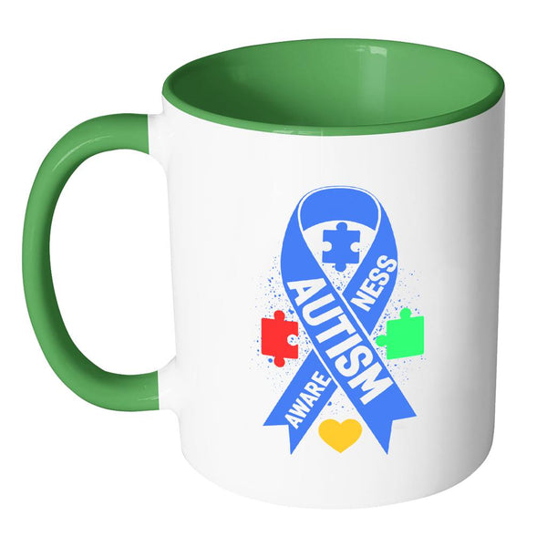 Autism Awareness V2 11oz Accent Coffee Mug (7 colors)-NeatFind.net