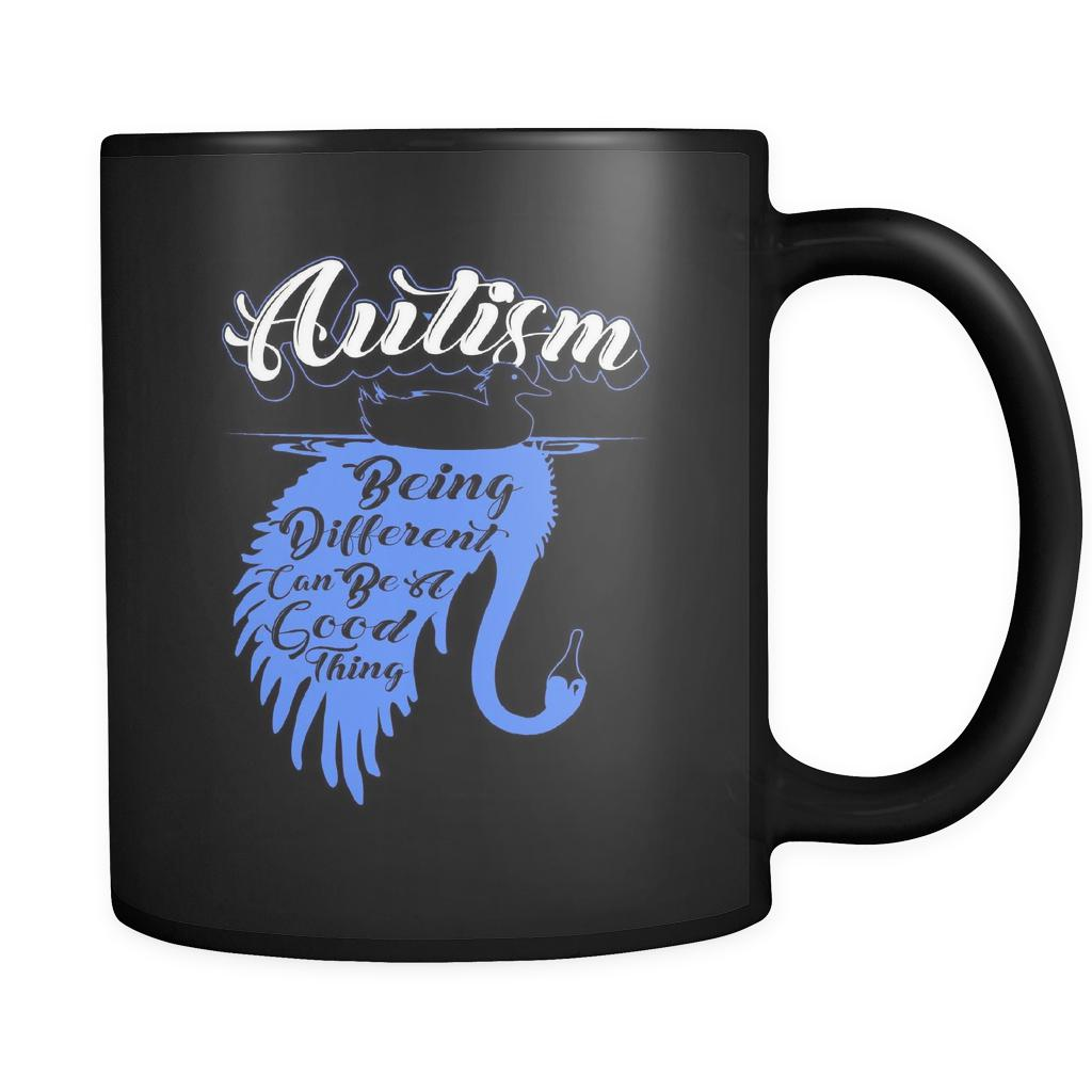 Autism Being Different Can Be A Good Thing Autism Awareness V2 Black 11oz Coffee Mug-NeatFind.net