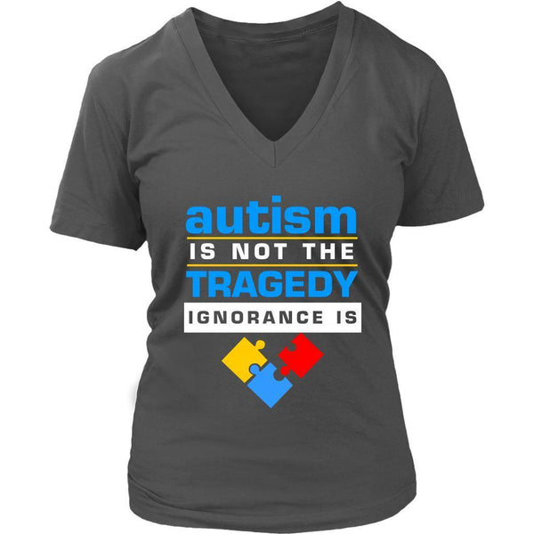 Autism Is Not The Tragedy Ignorance Is Spectrum Disorder Teacher VNeck TShirt-NeatFind.net