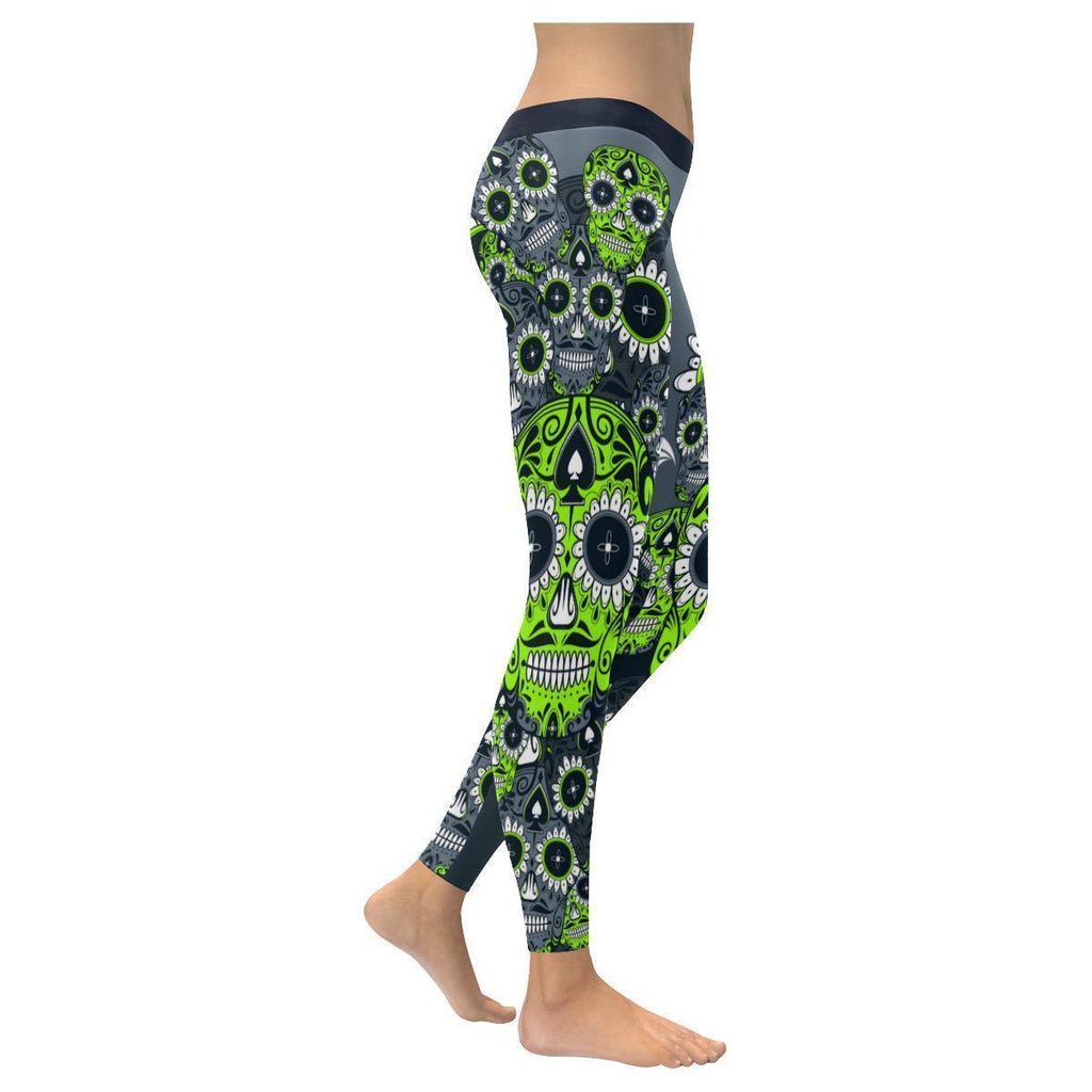 Awesome Aesthetic Shocking Uncommon Sugar Skull Spades UPF40+ Womens Leggings-NeatFind.net