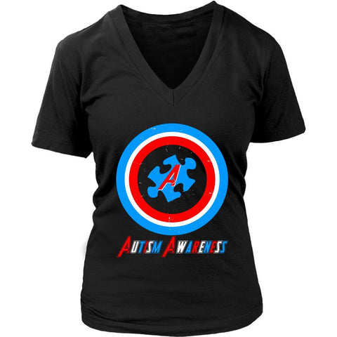 Awesome Captain America Shield Autism Awareness Products Gift Ideas VNeck TShirt-NeatFind.net
